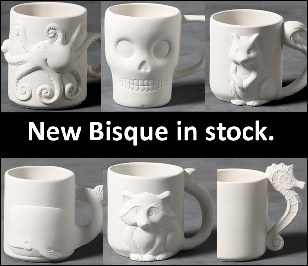 New bisque mugs from hobby ceramicraft