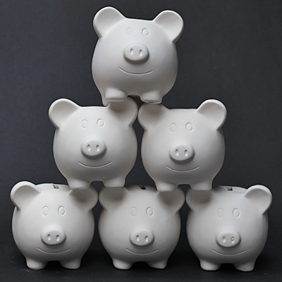 stack of pig banks.