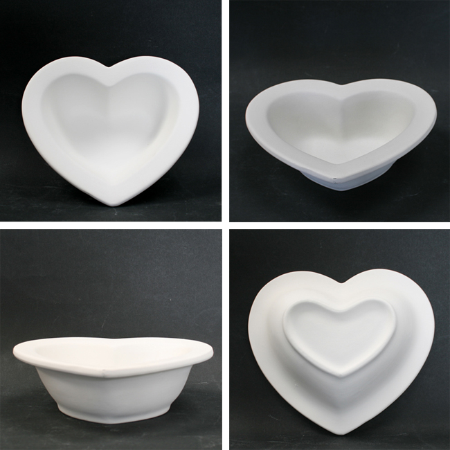 Bisque heart bowl